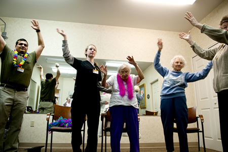 Seniors participate in a dance class to improve their balance and gait. (Photograph courtesy of Pinar Istek, University of Missouri News Bureau.)