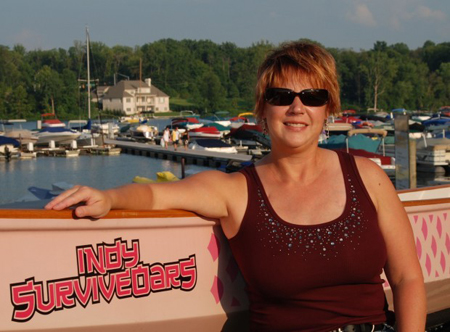 Sarah Demmon conquered her fear of water by joining Indy Survivoars, a group of breast cancer survivors that race dragon boats. The group's mission is to provide breast cancer survivors with a strong message of hope. (Photograph provided.)