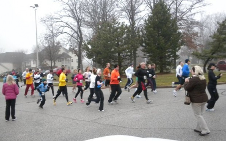 Runners and walkers participate in the Turkey Trot on Thanksgiving Day in Valparaiso. The annual 5K run/walk and competitive 10K run comprised the first Turkey Trot hosted by the Porter-Starke Services Foundation. (Photograph provided.)