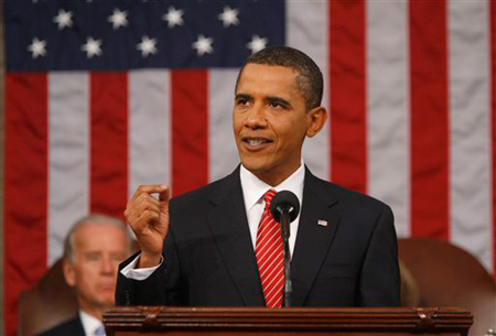 President Barack Obama addresses a joint session of Congress on healthcare at the U.S. Capitol in Washington, on Wednesday, Sept. 9, 2009. (AP Photo/Jason Reed, pool)