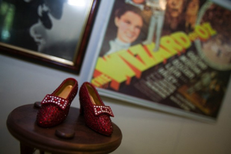 A pair of ruby slippers is on displayed at the Oz Museum in downtown Chesterton, which is gearing up for this weekend's Wizard of Oz Festival. The popular event, which starts today and ends Sunday, is back in Chesterton and is benefitting local businesses. (Photography by Jon L. Hendricks/The Times.)