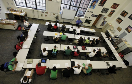 An English class works at Arsenal New Tech High School in Indianapolis. The school uses a curriculum being implemented at Calumet High School as the Northwest Indiana schools strives to shed its failing status. (Photograph by The Times.)