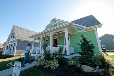 "The Gem, built by Treasure Homes in the Village in Burns Harbor, is the first building in Indiana to be awarded an ""Emerald"" level certification. (Photograph by The Times.)"
