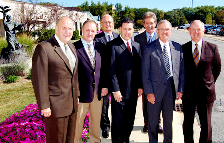 Front row, from left: Joe Allegretti, Capital Campaign chairman; and Hoeppner Wagner and Evans LLP members Kevin Keough, Robert Dignam, William Satterlee III and Joseph Jaskowiak. Back row, from left: Robert Corbin, Saint Anthony vice president-general counsel; and David Ruskowski, Saint Anthony president.
