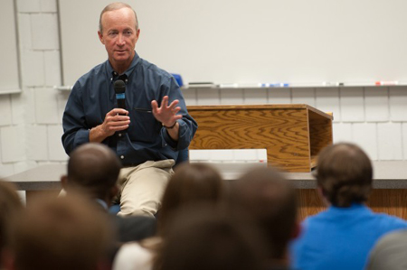 Gov. Mitch Daniels fields questions from students Thursday during his visit to the Valparaiso University School of Law. (Photograph by The Times.)