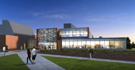 An artist rendering of the new $19 million academic building scheduled to be constructed at Valparaiso University. Construction of the new building is expected to be complete in April 2012. (Rendering courtesy of Valparaiso University.)
