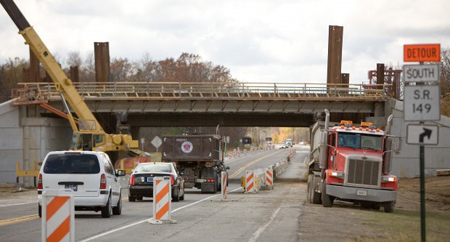 Vehicles travel on U.S. 20 under the Indiana 49 bridge Thursday in Porter. (Photograph by The Times.)