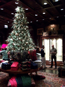 A Christmas display is shown inside Ralph Lauren on North Michigan Avenue. Clothing is the most requested holiday item after gift cards this year, according to the National Retail Federation. (Photograph by Erin Schumaker/Medill.)