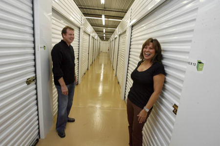 Nate Robinson and Sue Cooley, of Easy Life Storage offer true climate-controlled storage with 24/7 access in their new 16,000 sq ft facility. (Photograph by John Luke/The Times.)