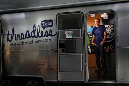 Jake Nickell, a Crown Point High School graduate and founder of Threadless, an online T-shirt company, was inspired to start the business after entering and winning an online T-shirt design contest. Threadless turned into a multimillion-dollar Web-based business and led to two retail stores in Chicago. It is celebrating 10 years in business. (Photograph by Heather Eidson/The Times.)