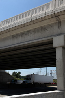 The Martin Luther King Jr. Drive bridge is closed over the the Borman Expressway in Gary. Cracks are visible from the east side of the bridge. (Photograph by Heather Eidson, File/The Times.)