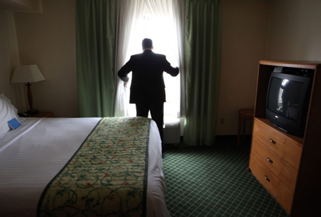 Fairfield Inn and Suites General Manager Jeff Lawn does a room inspection Thursday at the hotel in Hammond. Lake County hotel bookings and revenue are down. (Photograph by Jonathan Miano/The Times)